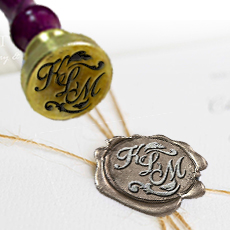 Shop for custom monograms, names, and text wax seal stamps.