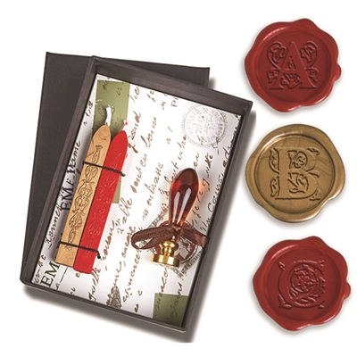 Wax Seal Kit -Initial with Murano Glass Handle & Gold Sealing Wa