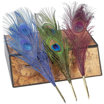 Feather Quill Ballpoint Pen -Peacock