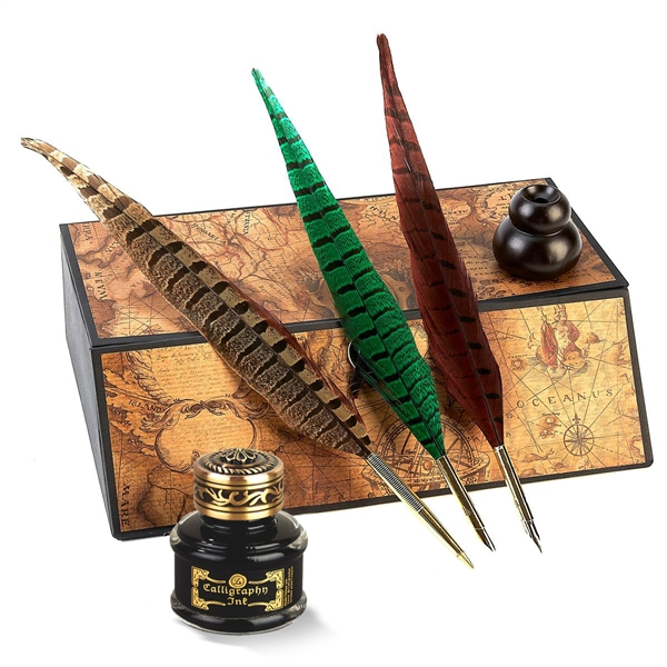 Pheasant Quill Nib PensFeather Quill Pen And Ink Set