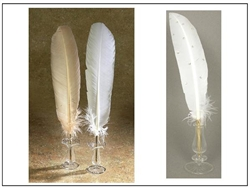Wedding Ballpoint Feather Quill Pen Set with stand