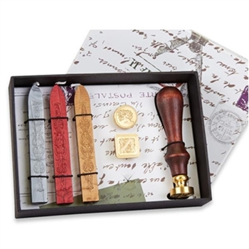 3-Die Wax Seal Kit  with Initial  & 2 additional Dies, Wood Handle & Sealing Wax