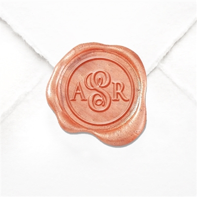 "Custom Monogram Wax Seal Stickers 50PK- 1"" round 3 letter monogram-Vine Script Center"