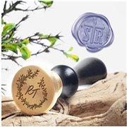 "Monogram 2-Letter Wax Seal Stamp  on 1"" Die-Decorative Layout  & handle options"