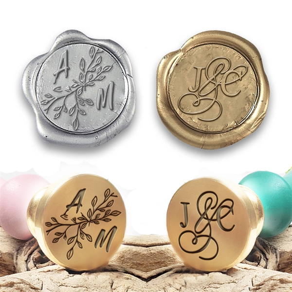 "Wedding Initial Custom Wax Seal Stamp- Duogram His & Hers  on 1"" Die-Font, Layout & handle options"