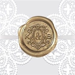 "Custom Monogram Wax Seal Stickers 50PK- 1"" round Victorian Wedding Duogram"