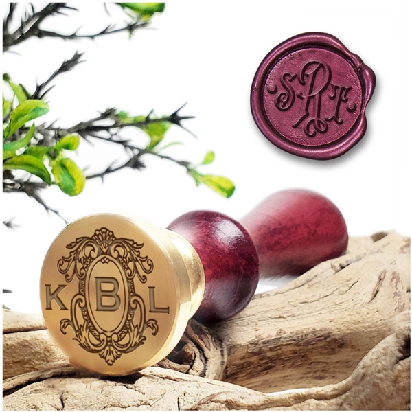 "Monogram 3-Letter Wax Seal Stamp  on 1"" Die-Decorative Layout  & handle options"