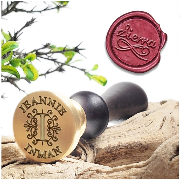 "Custom Wax Seal Stamp  on 1"" Die with Name, Text  & handle options"