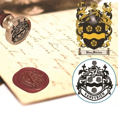 "Family Crest Wax Seal Stamp- 1 1/8"" Die -customize with your Name and Shield"