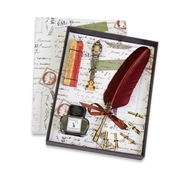 Feather Quill Pen Writing Set with Ink, Wax Seal & Red & Gold Sealing Wax