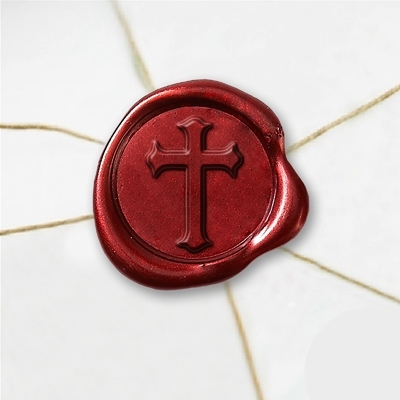 "Wax Seal Stickers-50 Stickers-50PK- 1""- Cross 2"