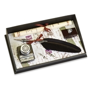 Dip Pen & Ink Set -Pewter with Ink Blotter & Nibs