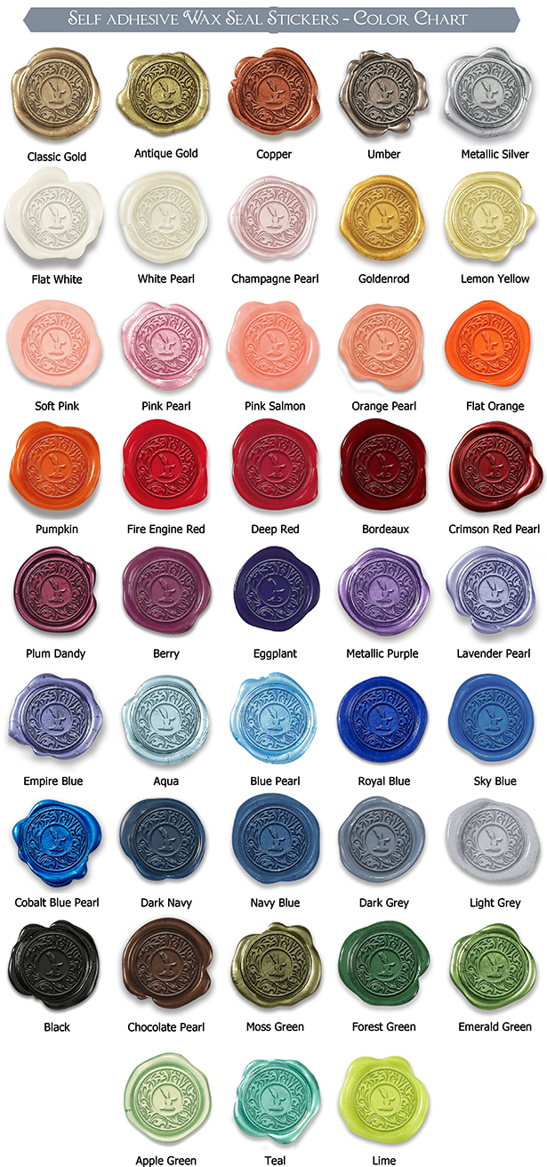 Self adhesive wax seal stickers color chart geenschuldenfo Gallery