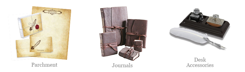 vintage aged papers and classic writing journals along with desk accessories to make any desk a writers paradise