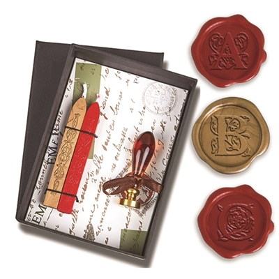 Initial Wax Seal Kit - Murano Glass Handle with Red & Gold Sealing Wax & Choice of Handle