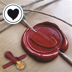 Valentine Wax Seal Kit-Wood Handle Seal & 2 Red Wax Sticks
