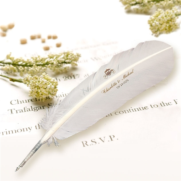 Personalized Wedding Feather Quill Pen