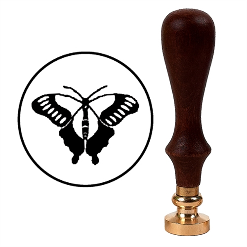 Wax Seal Stamp with Brown Wood Handle & Round Brass die -Butterfly