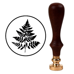 Wax Seal Stamp with Brown Wood Handle & Round Brass die - Fern