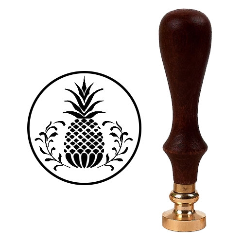 Wax Seal Stamp with Brown Wood Handle & Square Brass die - Pineapple