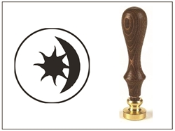 Wax Seal Stamp with Brown Wood Handle & Round Brass die -Celestial