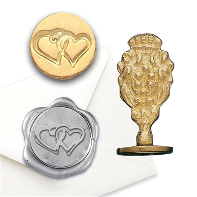 Double Heart Brass Wax Seal Stamp