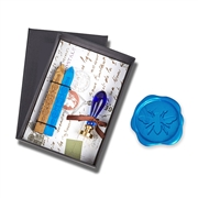 Wax Seal Kit Dark Blue Venezia Murano Glass Handle & Bee Die - Gold & Cobalt Wax