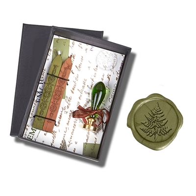 Wax Seal Kit Green Venezia Murano Glass Handle & Fern Leaf Die - Moss Green & Copper Wax