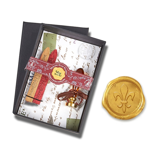 Wax Seal Kit Amber Venezia Murano Glass Handle & Fleur De Lis die- Red & Goldenrod Sealing Wax