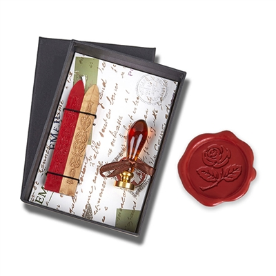 Wax Seal Kit Amber Petal Murano Glass Handle & Rose Die- Red & Gold Sealing Wax