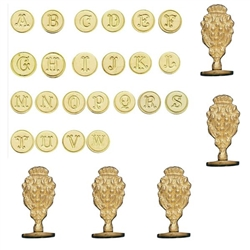 Initial Wax Seal Stamp Bundle Set of 26 Letters-Round