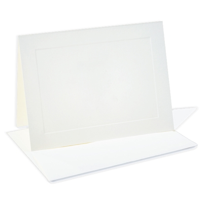 Classic Linen Note Cards Sets with Envelopes Brilliant White 8/8
