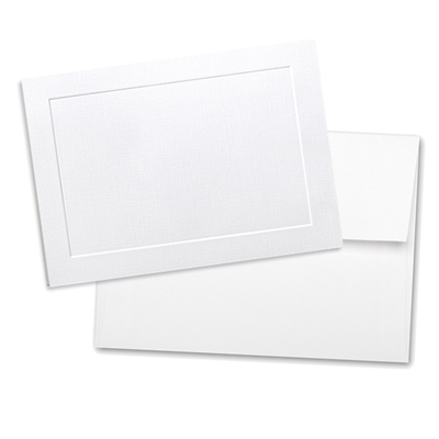 Classic Linen Note Card Set with Envelopes Brilliant White 8/8