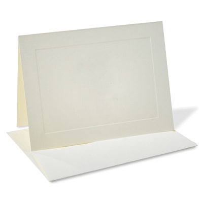 Classic Linen Note Card Set with Envelopes Natural Ivory 8/8