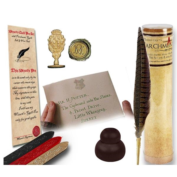 Harry-Potter Quill & Ink Set -Young Wizard's Writing BundleWriting Quill And Ink Sets