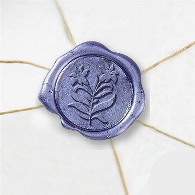 "Wax Seal Stickers-50 Stickers-50PK- 1""-Two Lillies"