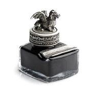 Dragon Glass Inkwell with Pewter Cap & Pen Rest - Black Writing Ink
