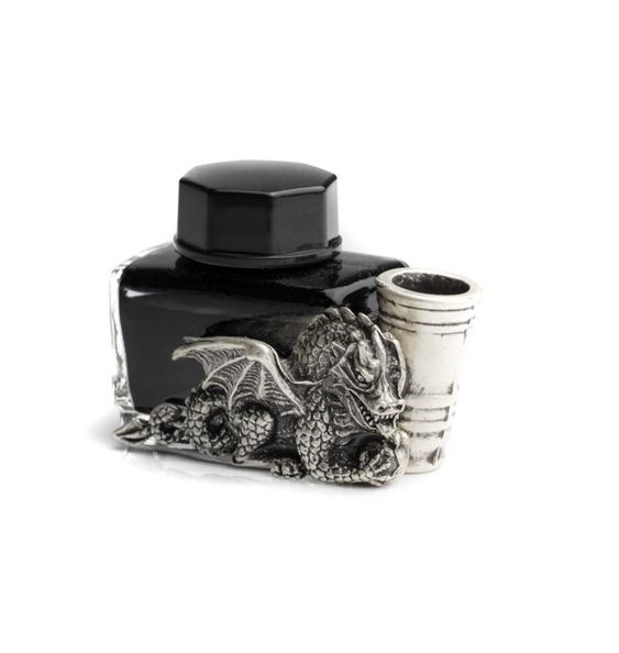 Glass Inkwell with Dragon & Pewter Pen Holder - Black Writing Ink