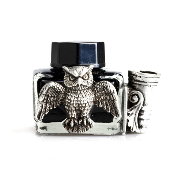 wl Glass Inkwell with Pewter Owl , Pen Holder and Black Writing Ink