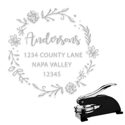 "Round Address Paper Embosser with Family Name & Address -1.625"" imprint"