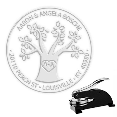 "Love Tree  Paper Embosser with Monogram and Address -1.625"" imprint"