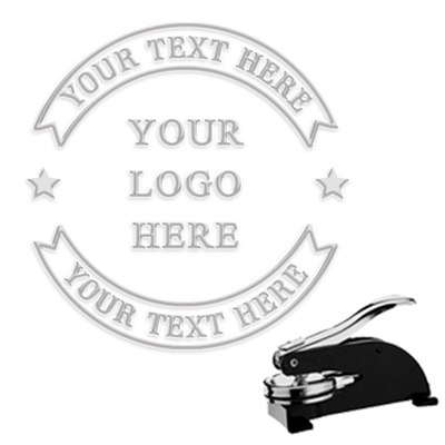 "Custom Logo Paper Embosser with Text in Banner-1.625"" imprint"