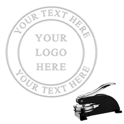 "Custom Logo Paper Embosser with Text in Border -1.625"" imprint"