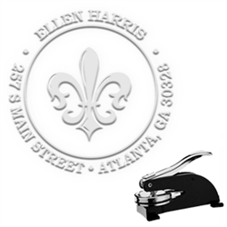 "Fleur De Lys Round Address Paper Embosser with Name-1.625"" imprint"