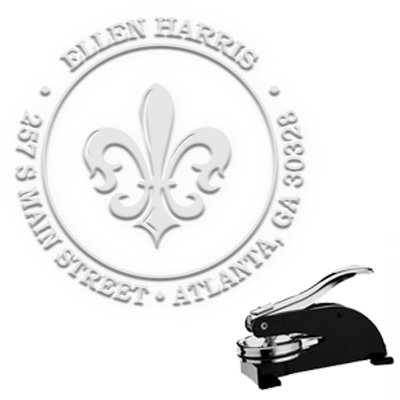 "Fleur De Lis Round Address Paper Embosser with Name-1.625"" imprint"