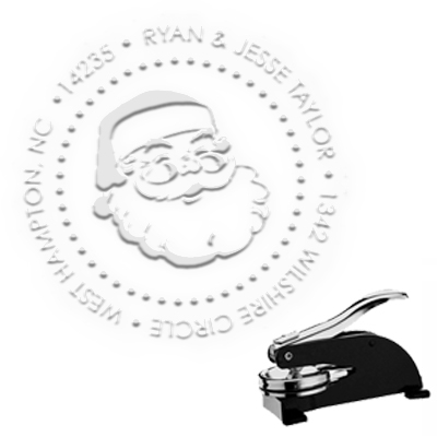 "Santa Round Address Paper Embosser with Name-1.625"" imprint"