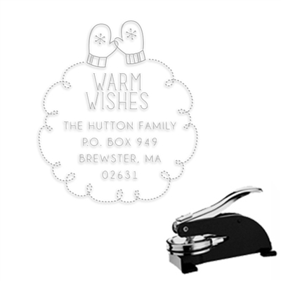 "Christmas   Wishes Round Address Paper Embosser-1.625"" imprint"