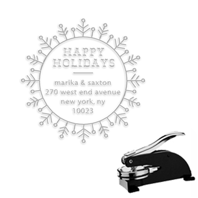 "Happy Holidays Round Address Paper Embosser-1.625"" imprint"