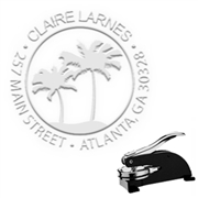 "Palm Trees Round Address Paper Embosser with Name-1.625"" imprint"