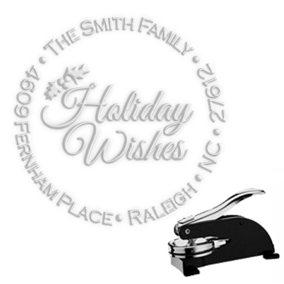 "Holiday Wishes  Address Paper Embosser with Name-1.625"" imprint"